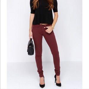 BRAND NEW Flying monkey burgundy skinny jeans